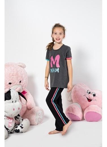 Siyah İnci Pijama Takım Antrasit
